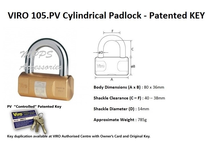 VIRO 105 PV Cylindrical Padlock – Patented Key